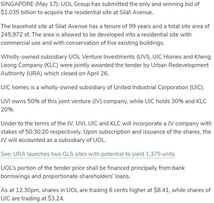 avenue-south-residence-Sole-bidder-UOL-JV-snaps-up-Silat-Ave-site-for-1.04 bil-in-URA-tender-article-singapore